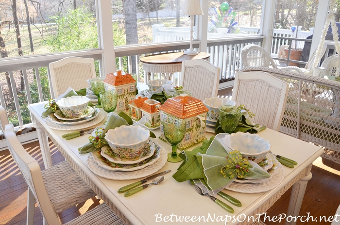 Dining on the Porch with a Whimsical Spring Table Setting