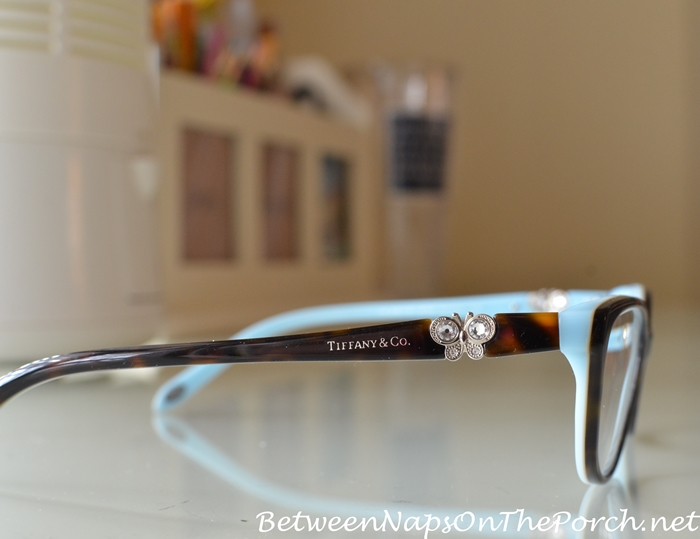 a827ce174c85 I love the little Swarovski crystal butterfly accent on each earpiece.  These frames are also available here: Tiffany & Co. Glasses.