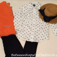 White & Navy Polka Dot Shirt with Orange Cardigan Sweater, Navy Jeggings