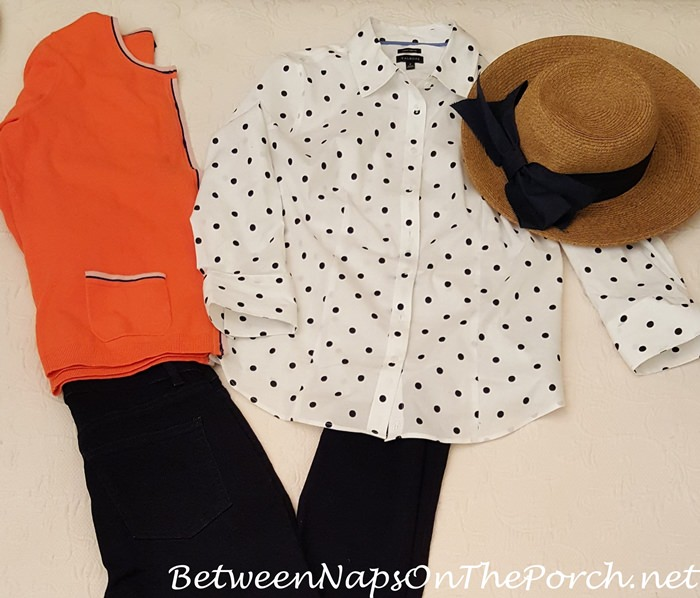 White & Navy Polka Dot Shirt with Orange Cardigan Sweater, Navy Jeggings