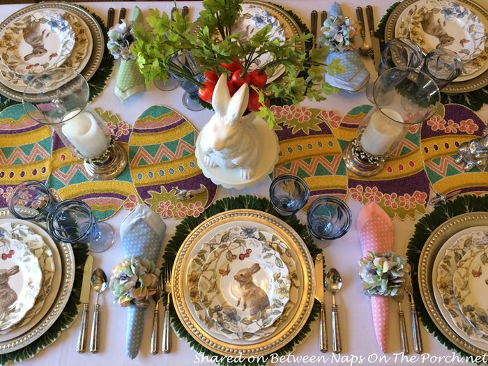 Gina\u0027s spring table is all about the bunnies. Love these adorable bunny plates! You\u0027ll find them on sale here Bunny Dinnerware. & Hopping Into Spring with a Beautiful Spring-Easter Table Setting