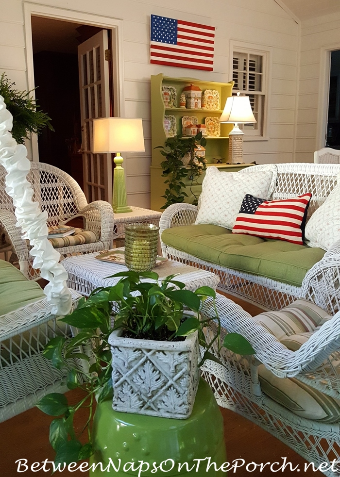 Screened Porch Decorated for Memorial Day