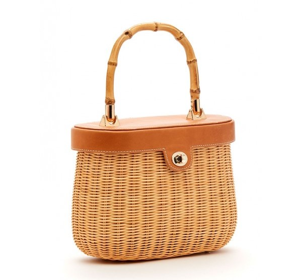 Straw Bag With Leather Top & Bamboo Handle