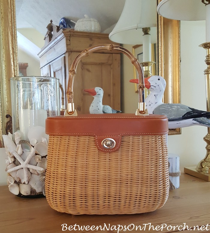Wicker Bag with Bamboo Handle, Summer Fashion