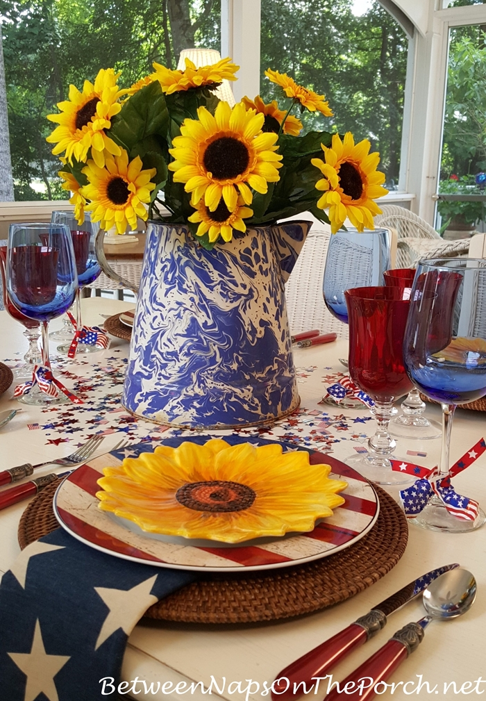 4th of July Table Centerpiece, Swirl Graniteware Pitcher with Sunflowers