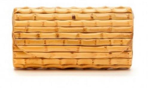 Bamboo Clutch Bag in Natural, White, Blue and Black