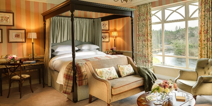 Beautiful bedroom in Ballynahinch Castle