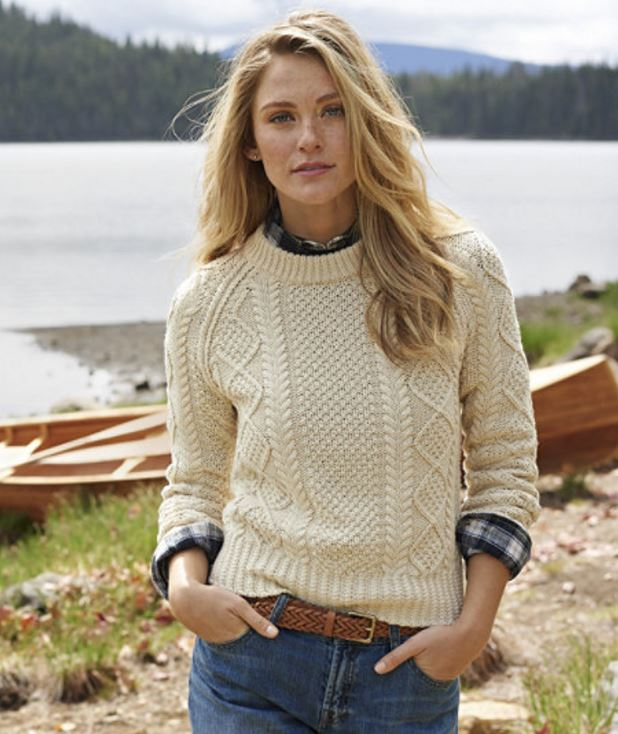 Cotton Fisherman Sweater in Ivory