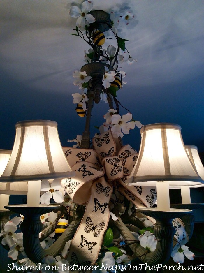 Chandelier Decorated with Flowers and Bees