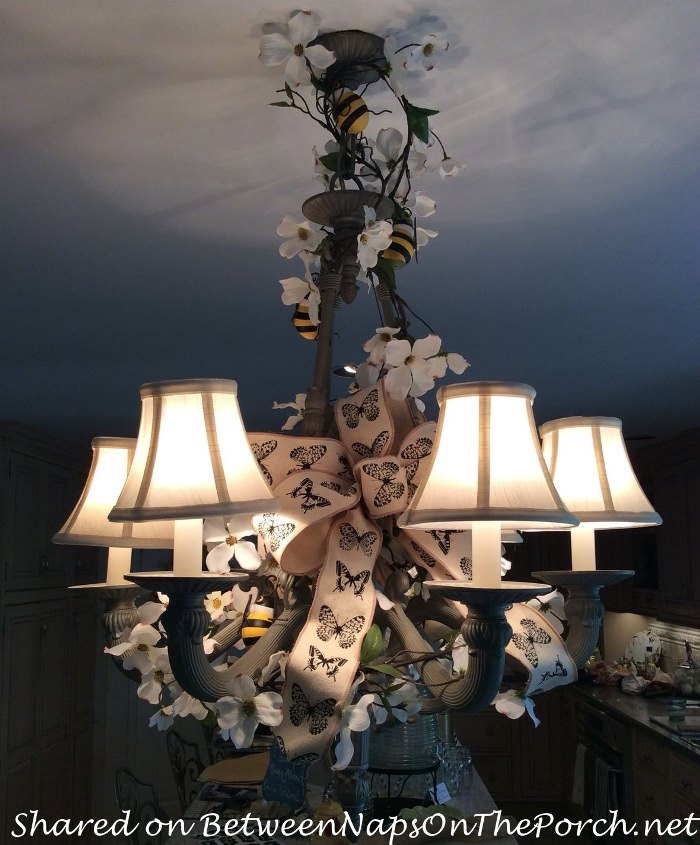Chandelier Decorated for Spring Party