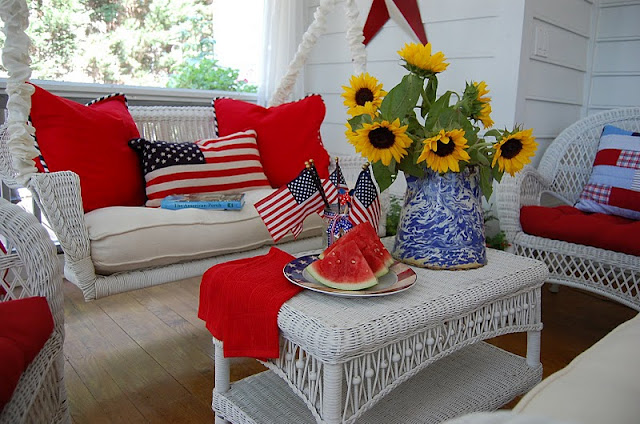 Decorate a porch for the 4th of July