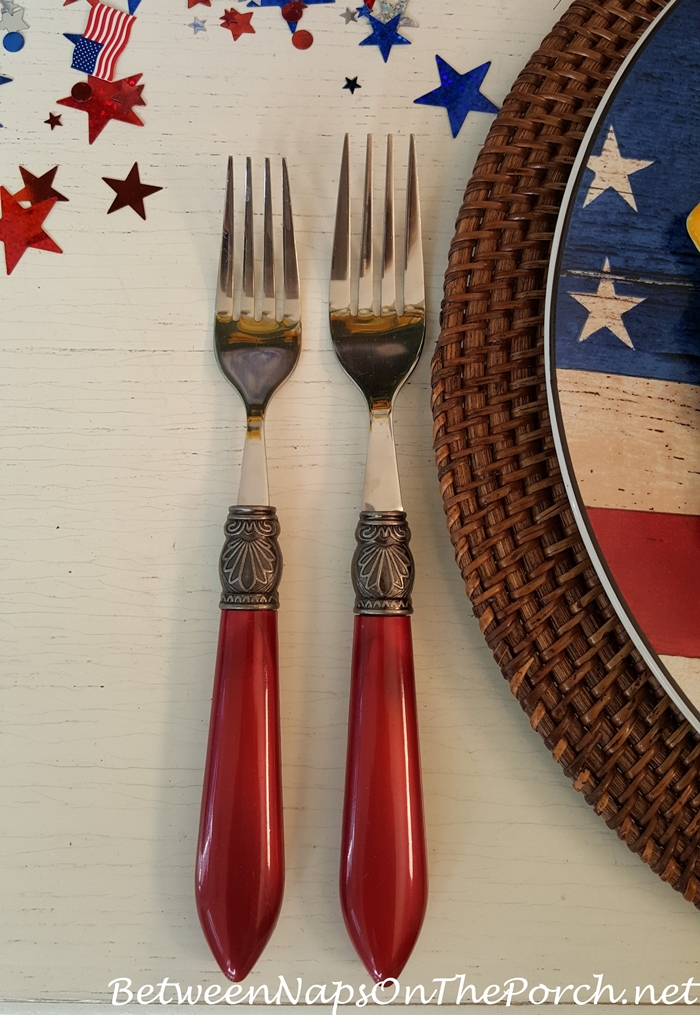 Elegant Red Flatware for 4th of July Table Setting