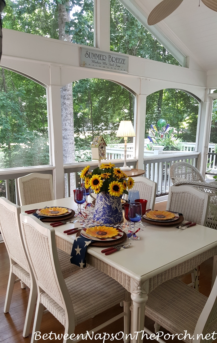 Patriotic Table Setting for 4th of July, Porch Dining