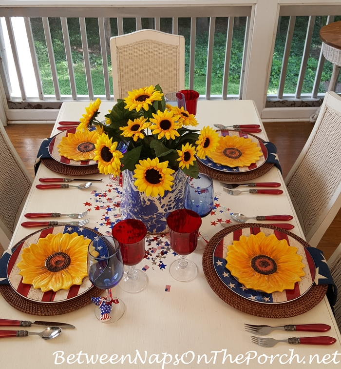 Red, White, Blue 4th of July or Memorial Day Table Setting, Flag Dishes
