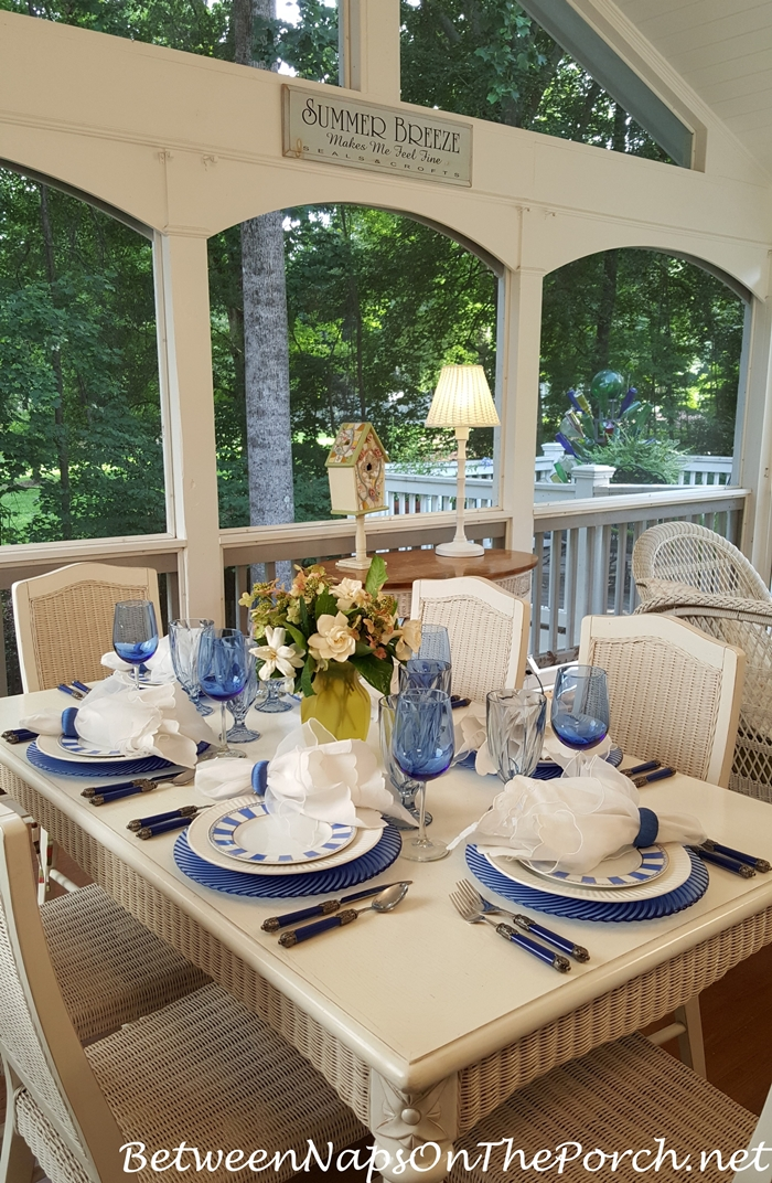 Screened Porch Dining, Blue & White Table