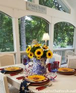 Sunflower Centerpiece for a 4th of July Table Setting