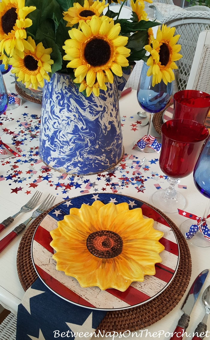 Sunflower Salad Plates in 4th of July Tablecape, Sunflower Centerpiece