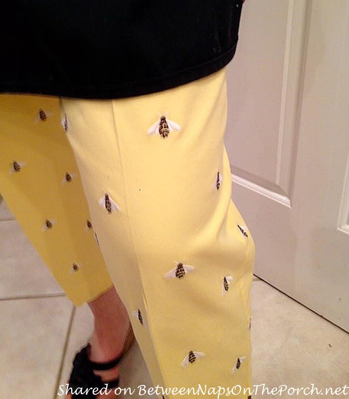 Yellow Pants with Embroidered Bees