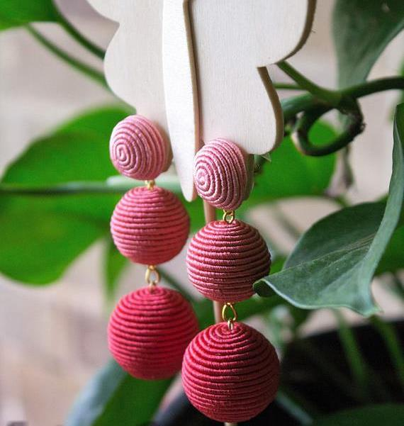 Rebecca de Ravenel Inspired Earrings, Hand-made with Silk Cording