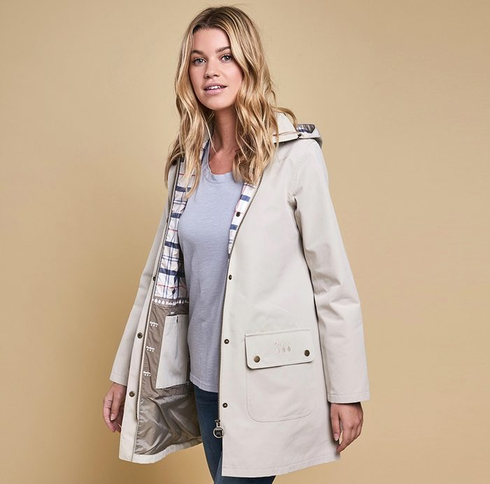 Barbour Gustnado Coat, Mist with Plaid Lining