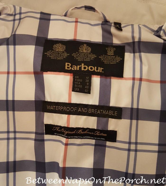 Barbour Gustnado, Mist with Summer Tartan Plaid Lining