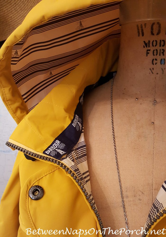 Barbour Trevose Yellow Waterproof Jacket, Striped Lining