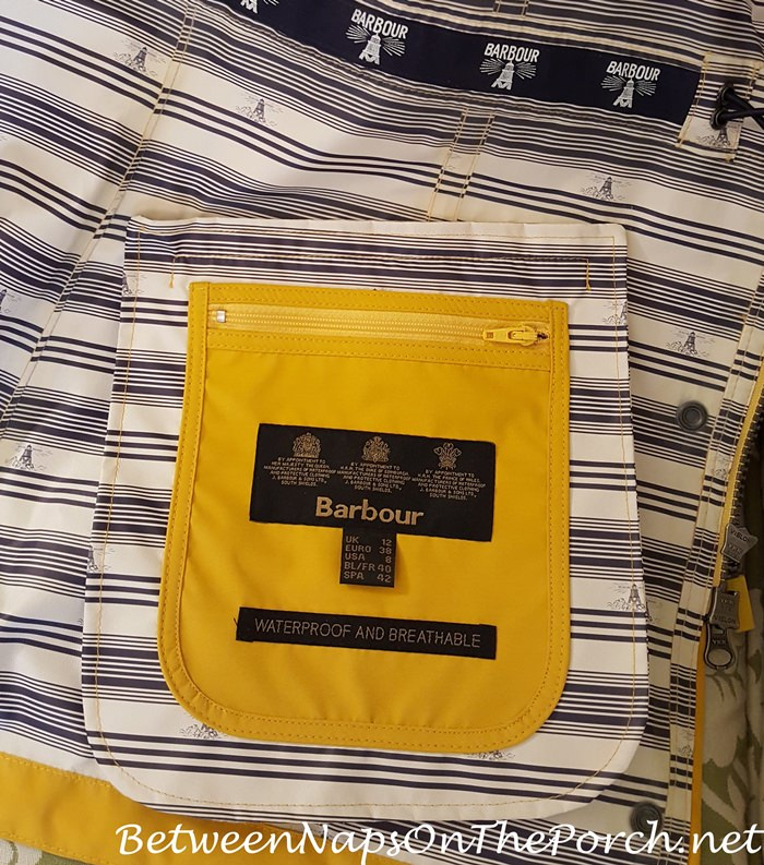 Barbour Yellow Trevose Jacket Coat, Hidden Inside Pocket, Striped Lining