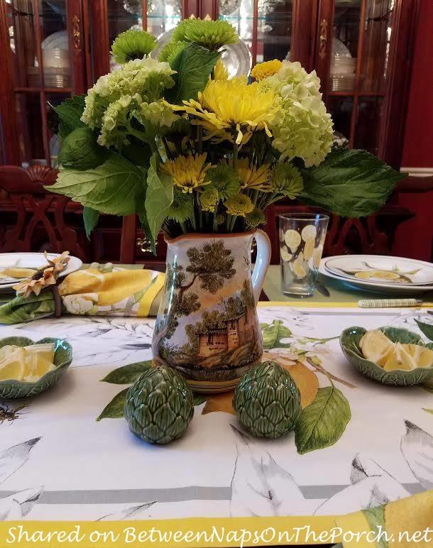 Beautiful Italian Sorrento Pitcher, Floral Centerpiece