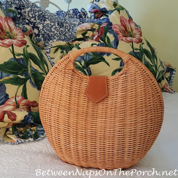 J. Mclaughlin Circular Round Wicker Bag