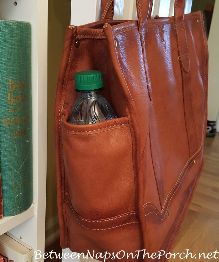 Frye Campus Shopper Tote with Bottle Holder on Side