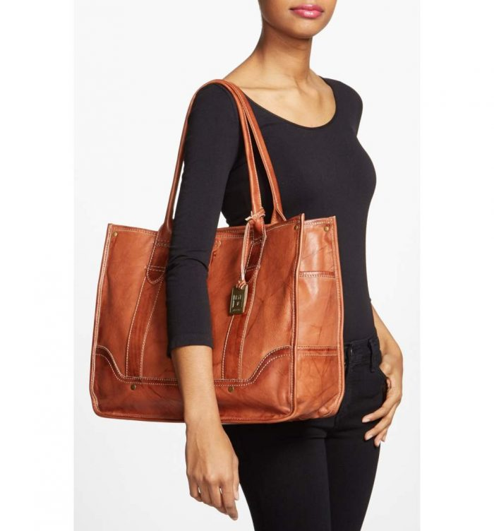 Frye Leather Shopper Tote, Saddle Brown Color