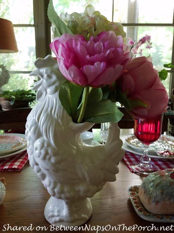 Rooster Pitcher as Vase