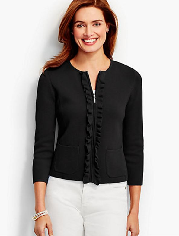Sweater Jacket in Black with Ruffle
