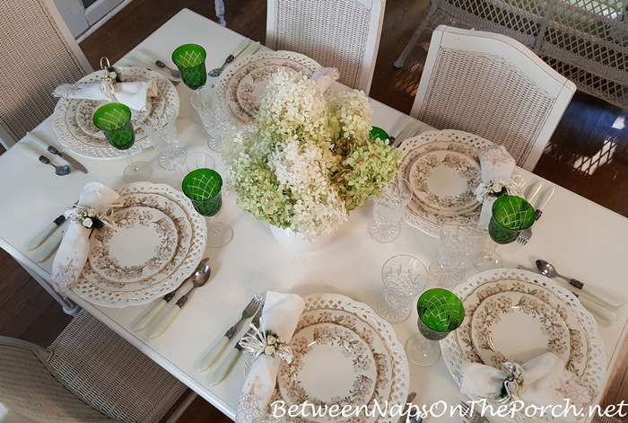 Soft Summer Table on the Porch, Limelight Hydrangea Centerpiece