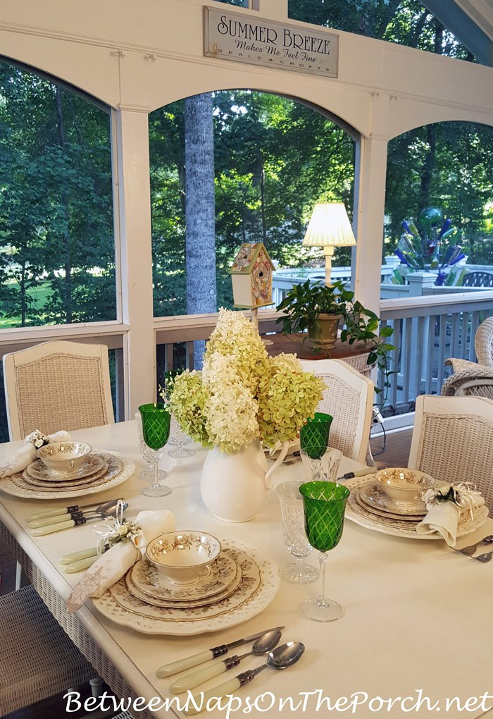 Table Setting with Limelight Hydrangea Centerpiece, Orchard by Syracuse China