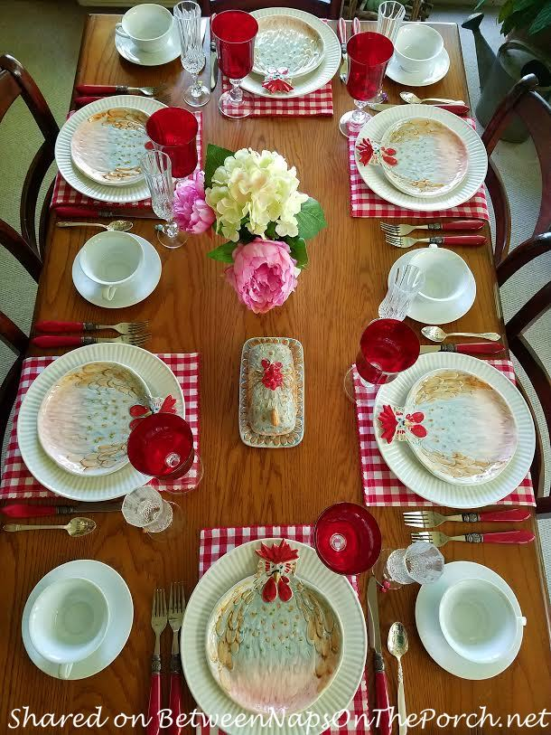 Tablescape with Jacques Pepin Collection Dinnerware, Chicken Plates