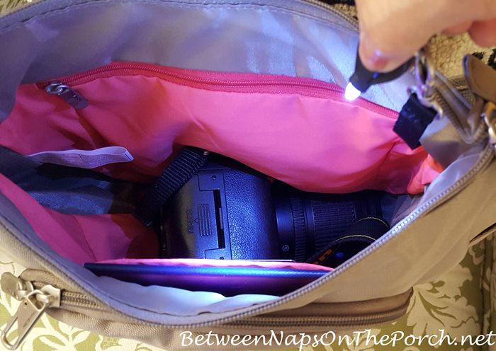 Travelon Anti-Theft Bag with Mini-Flashlight to See Inside