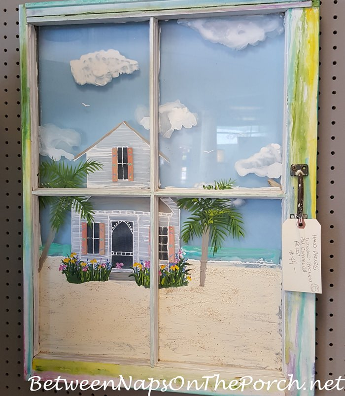 Beach House Painted on Window Panes