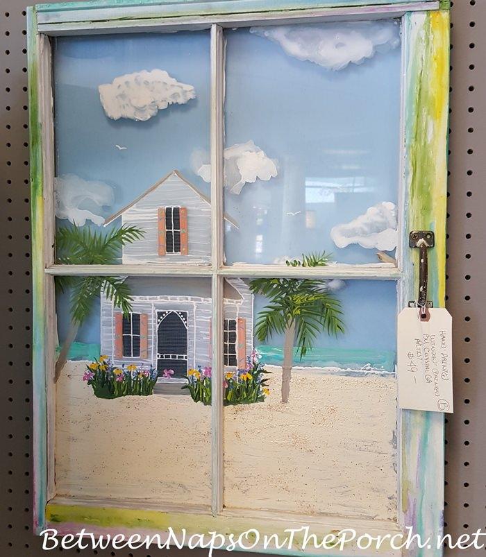 Beach House Painted on Window Panes