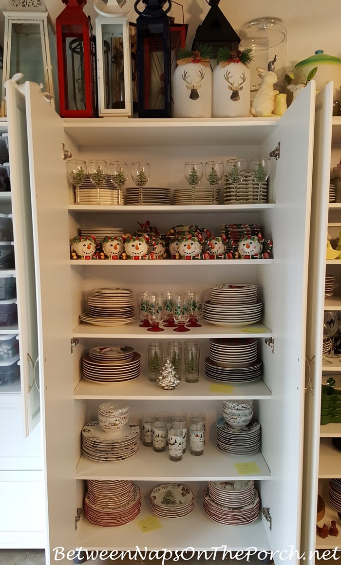 Cabinet Storage for Christmas Dinnerware and Glassware, Lantern Storage Overhead
