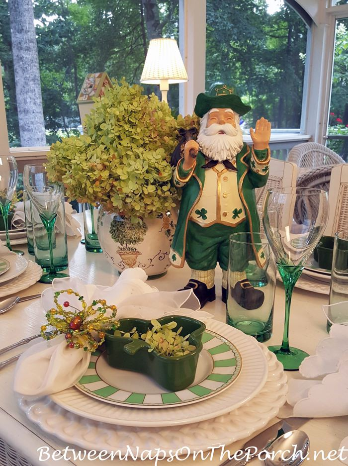 Celebrating Ireland with a Green and White Table Setting