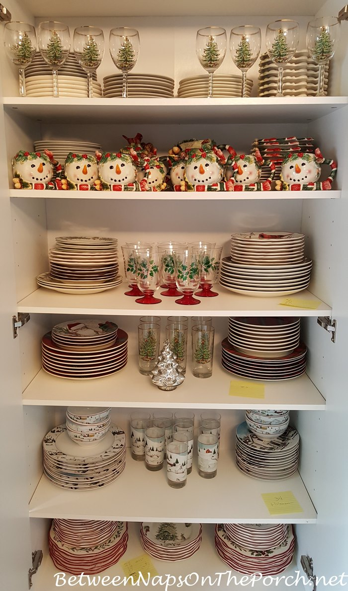 Christmas Dishware Storage, White Cabinets