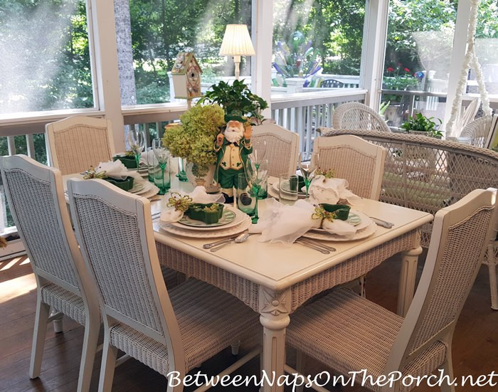 Green and White Table Setting, White Wicker Dining Set