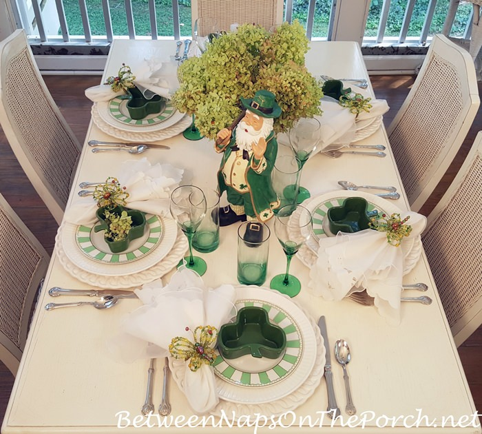 Green and White Tablescape with Leprechaun and Limelight Hydrangea Centerpiece