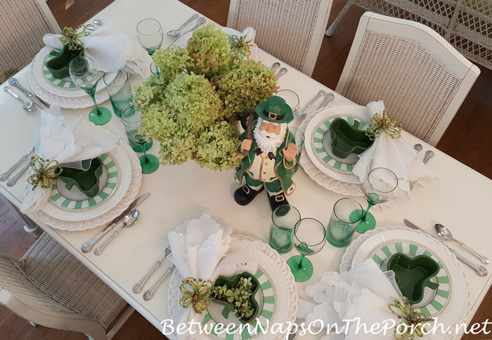 Limelight Hydrangeas from the Garden in a Green and White Table Setting