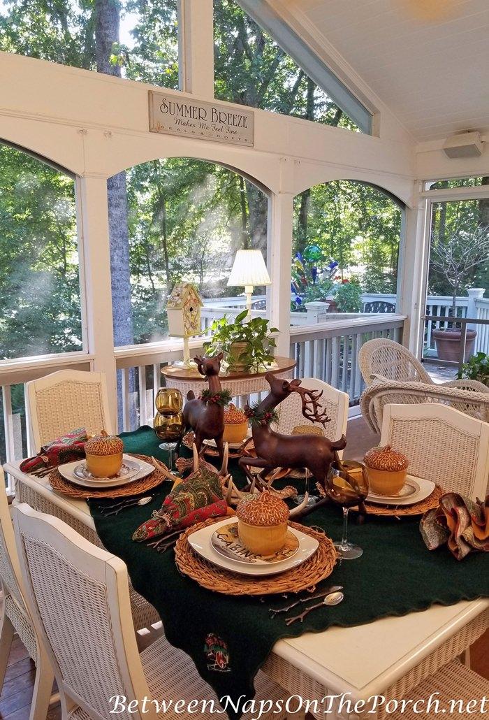 Autumn Lodge Table Setting, Acorn Tureens