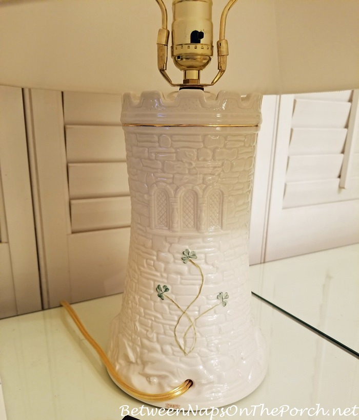 Back of Belleek Pottery Castle Lamp