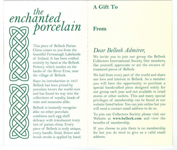 Belleek Pottery Information