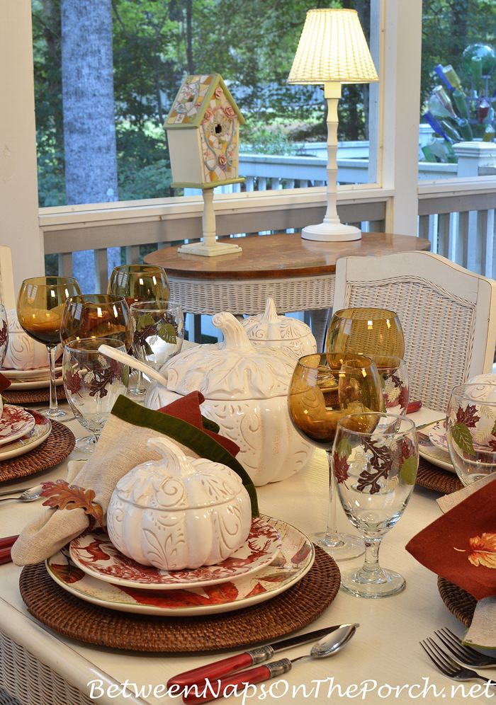 Dining on the Porch in Autumn-Fall