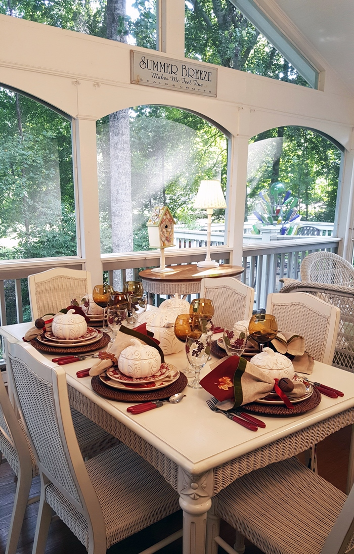 Fall-Autumn Tablescape on the Porch, Between Naps On The Porch Blog